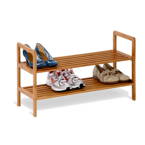2-Tier Bamboo Shoe Shelf Rack - Holds 6 to 8 Pairs of Shoes-Accents > Shoe Racks-Loluxe