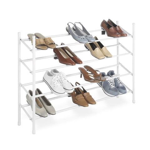 2-Tier Stackable Shoe Rack Organizer Storage Shelves in White-Accents > Shoe Racks-Loluxe