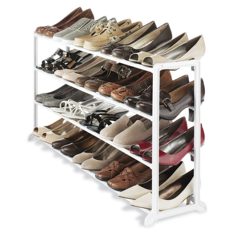 20 Pair Shoe Rack in White Resin-Accents > Shoe Racks-Loluxe