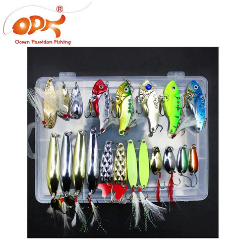 21pcs/lot VIB lure kit spoon with box spinner lure suit fishing tackles-Loluxe