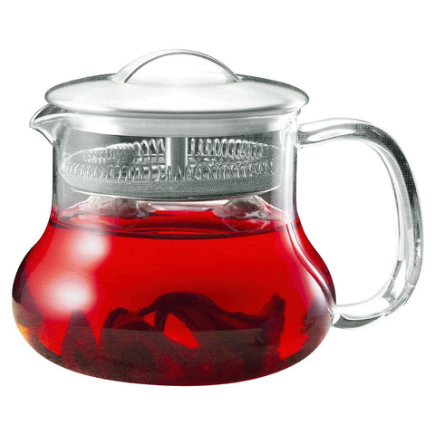 22-ounce Glass Kettle Tea Pot Strainer with Stainless Steel Lid-Kitchen > Teapots-Loluxe