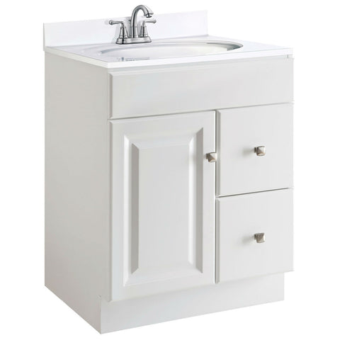 24-inch Modern Bathroom Vanity Cabinet Base in White Semi-Gloss-Bathroom > Bathroom Vanities-Loluxe
