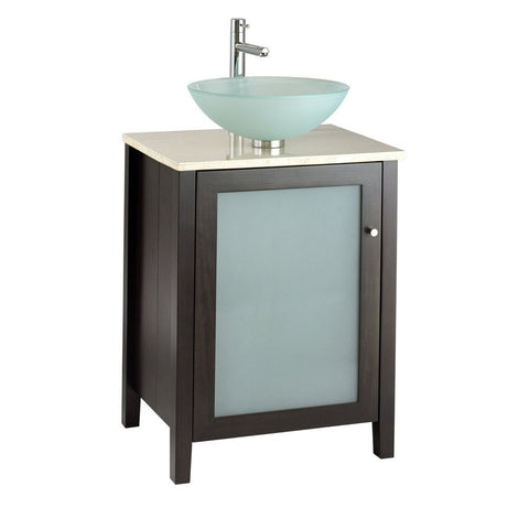 24-inch Modern Espresso Bathroom Vanity - Top & Faucet Not Included