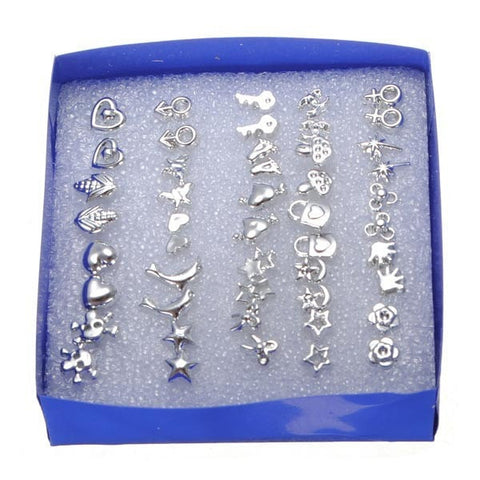 24 Pairs Multi-style Electroplating Ear Stud Anti-allergy Earrings-Loluxe