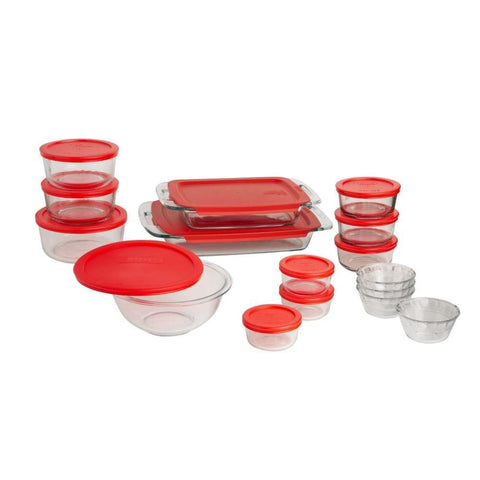 28-Piece Glass Bake and Food Storage Set with Red Lids-Kitchen > Cookware Sets-Loluxe