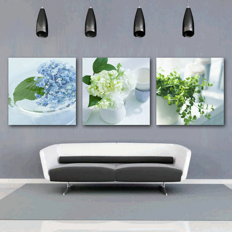 3 Panel Modern Abstract Flower Painting On Canvas No Frame-Loluxe