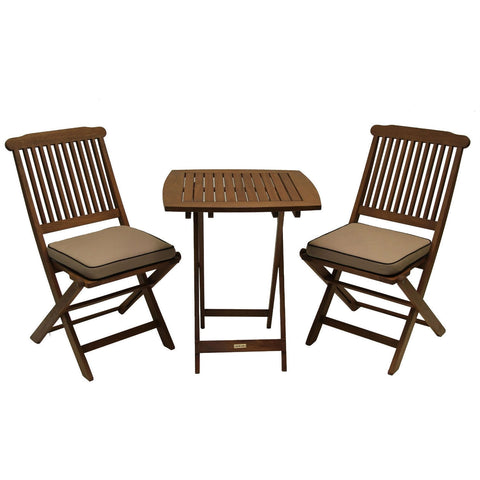 3-Piece Bistro Style Outdoor Patio Furniture Chair Table Set with Cushions- Outdoor > - Patio Furniture €� Loluxe