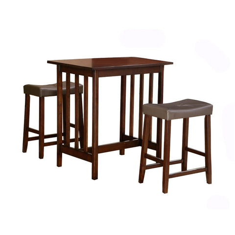 3-Piece Counter Table and Stools Dining Set in Cherry Finish-Dining > Dining Sets-Loluxe