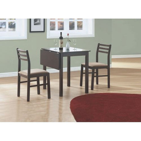 3-Piece Drop-Leaf Square Dining Set in Cappucinno Finish-Dining > Dinette Sets-Loluxe