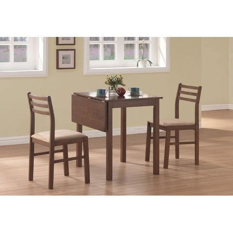 3-Piece Drop-Leaf Square Dining Set in Walnut Finish-Dining > Dinette Sets-Loluxe