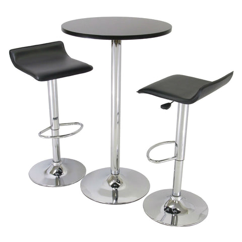 3 Piece Modern Dining Set with Bistro Table and Two Stools-Dining > Dining Sets-Loluxe
