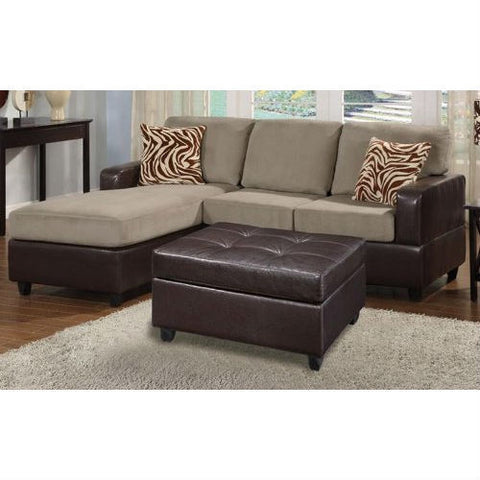 3-Piece Reversible Sectional Sofa with Ottoman in Pebble Color-Living Room > Sofas-Loluxe
