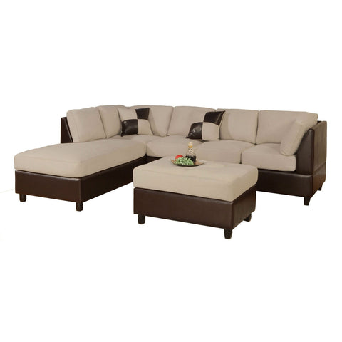 3-Piece Sectional Sofa in Cream Microfiber Brown Faux Leather-Living Room > Sofas-Loluxe