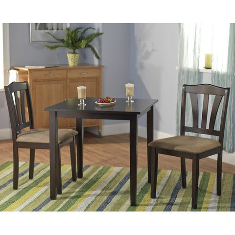 3-Piece Square Dining Set in Espresso Wood Finish-Dining > Dining Sets-Loluxe