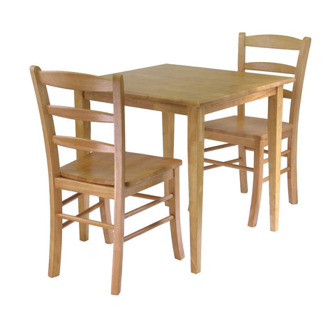 3 Piece Wood Dining Set in Light Oak Finish-Dining > Dining Sets-Loluxe