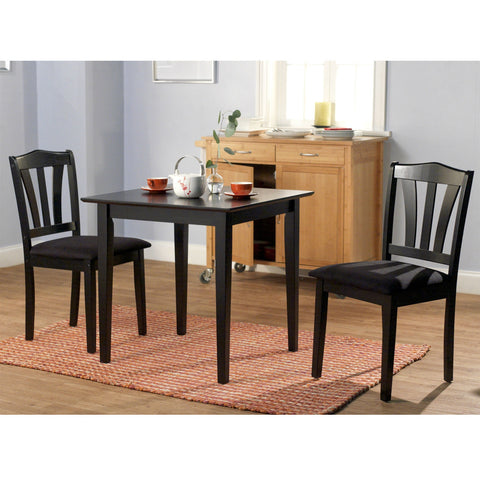3-Piece Wood Dining Set with Square Table and 2 Chairs in Black-Dining > Dining Sets-Loluxe