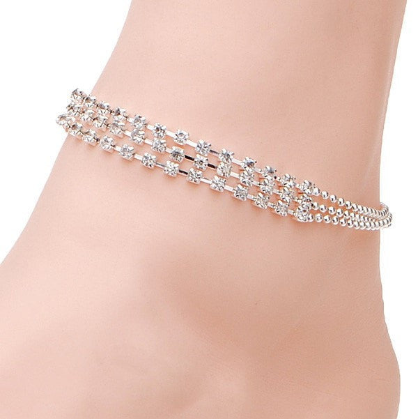 3 Rows Silver Clear Crystal Chain Anklet Bracelet Jewelry-Loluxe