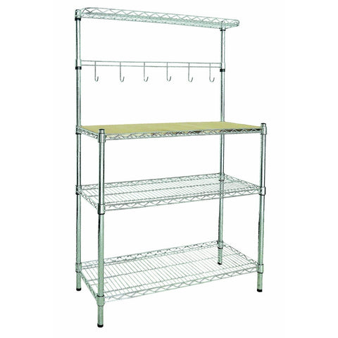 3-Shelf Chrome Metal Bakers Rack with Removable Cutting Board-Kitchen > Bakers Racks-Loluxe