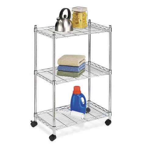 3-Shelf Chrome Steel Storage Cart on Wheels-Accents > Shelving Units-Loluxe
