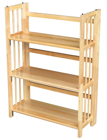 3-Shelf Folding Bookcase Storage Shelves in Natural Wood Finish-Living Room > Bookcases-Loluxe