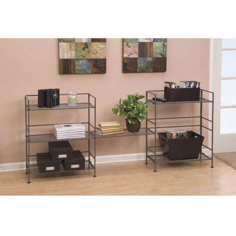 3-Shelf Iron Rectangular Folding Metal Bookcase Storage Shelves-Living Room > Bookcases-Loluxe