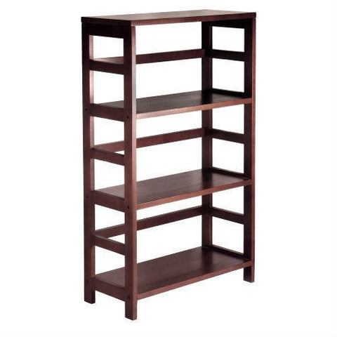 3-Shelf Wooden Shelving Unit Bookcase in Espresso Finish-Living Room > Bookcases-Loluxe