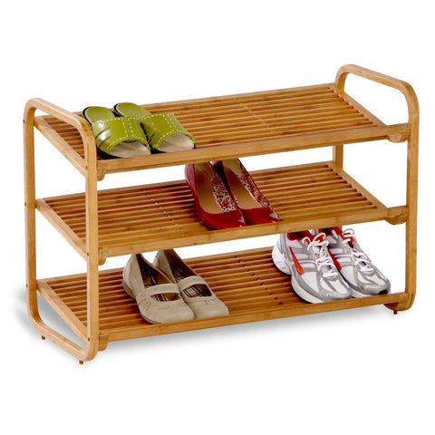 3-Tier Bamboo Shoe Rack Shelf - Holds 9-12 Pairs of Shoes-Accents > Shoe Racks-Loluxe