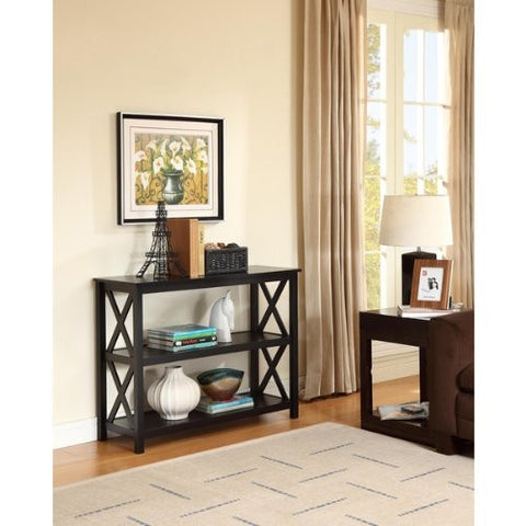 3-Tier Black Sofa Table Bookcase Living Room Shelves-Living Room > Console & Sofa Tables-Loluxe