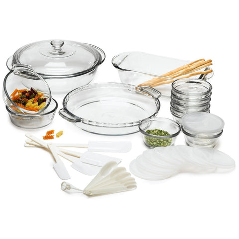 33-Piece Glass Cookware Set - Made in the USA-Kitchen > Cookware Sets-Loluxe