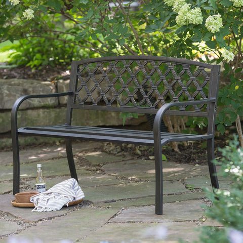 4-Ft Curved Back Metal Garden Bench in Weathered Black with Antique Bronze Highlights-Outdoor > Outdoor Furniture > Garden Benches-Loluxe