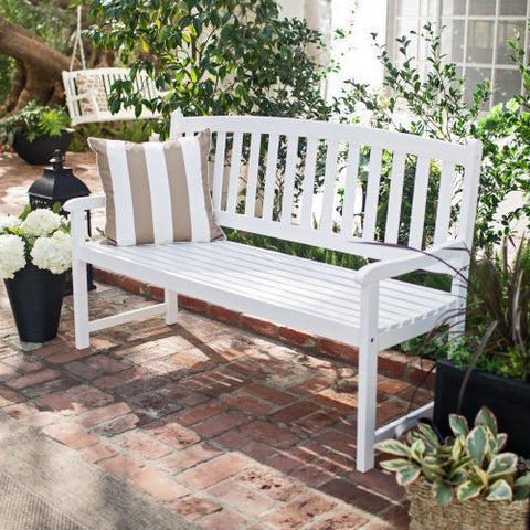 4-Ft Garden Bench with Curved Back and Armrests in White Wood Finish-Outdoor > Outdoor Furniture > Garden Benches-Loluxe