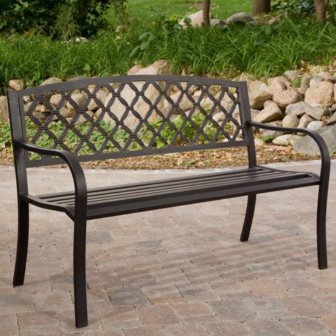 4-Ft Metal Garden Bench with Bronze Highlights over Antique Black Finish-Outdoor > Outdoor Furniture > Garden Benches-Loluxe