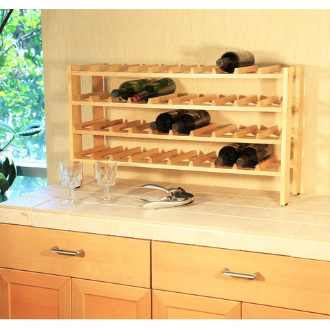 4-Shelf 40-Bottle Wine Rack in Solid Birchwood-Kitchen > Wine Racks and Coolers-Loluxe