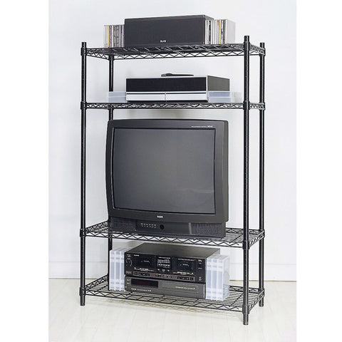 4-Shelf Black Metal Wire Shelving Unit - Each Shelf Holds up to 350 lbs-Accents > Shelving Units-Loluxe