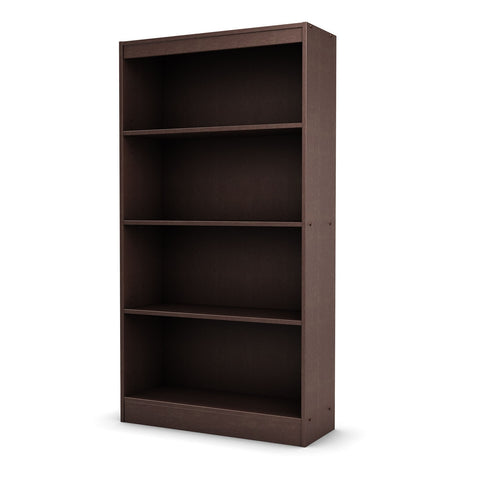 4 Shelf Bookcase in Dark Chocolate Finish-Living Room > Bookcases-Loluxe