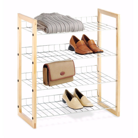 4-Shelf Closet Shoe Rack with Natural Wood Frame and Chrome Wire Shelves-Accents > Shoe Racks-Loluxe