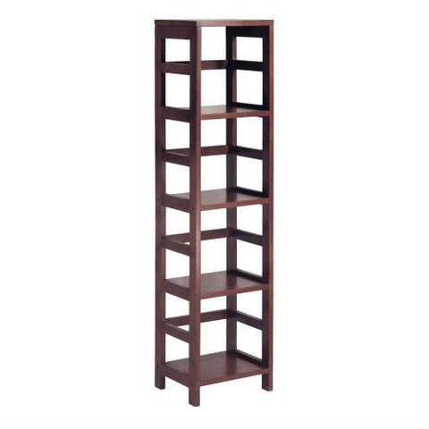 4-Shelf Narrow Shelving Unit Bookcase Tower in Espresso-Living Room > Bookcases-Loluxe