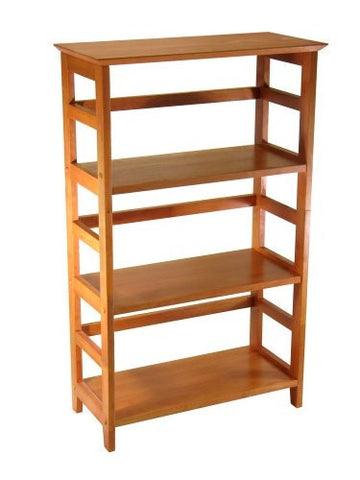4-Tier Book-shelf Wood Bookcase in Honey Finish-Living Room > Bookcases-Loluxe