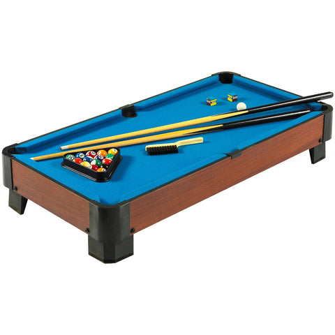 40-inch Pool Table with Blue Felt Surface 2 Cues and Billiard Balls-Game Room > Pool Tables-Loluxe