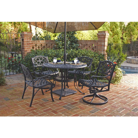 48 Inch Round Black Metal Outdoor Patio Dining Table With Umbrella Hole  Outdoor U003e