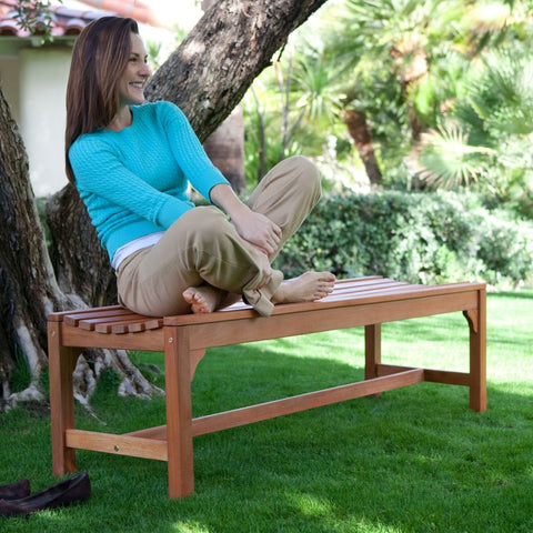 5-Ft Backless Garden Bench in Weather Resistant Wood-Outdoor > Outdoor Furniture > Garden Benches-Loluxe