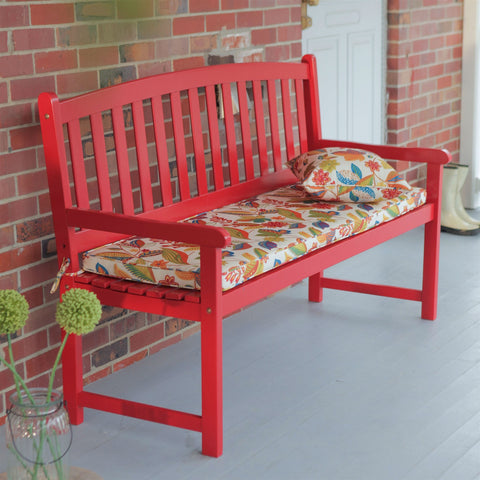 5-Ft Outdoor Garden Bench in Red Wood Finish with Armrest-Outdoor > Outdoor Furniture > Garden Benches-Loluxe