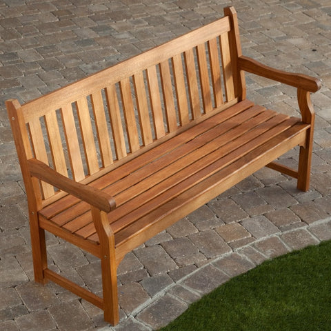 5-Ft Outdoor Wooden Garden Bench with Armrests-Outdoor > Outdoor Furniture > Garden Benches-Loluxe