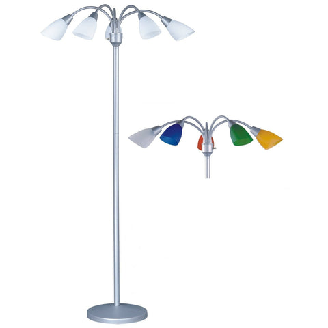 5-Light Adjustable Arm Floor Lamp in Silver with White and Color Shades