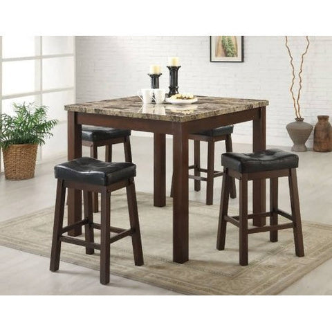 5-Piece Cherry Dining Set with Faux Marble Table Top-Dining > Dining Sets-Loluxe