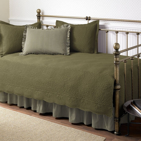 5-Piece Daybed Bedding Set in Dark Green Aloe Color-Bedroom > Comforters and Sets-Loluxe