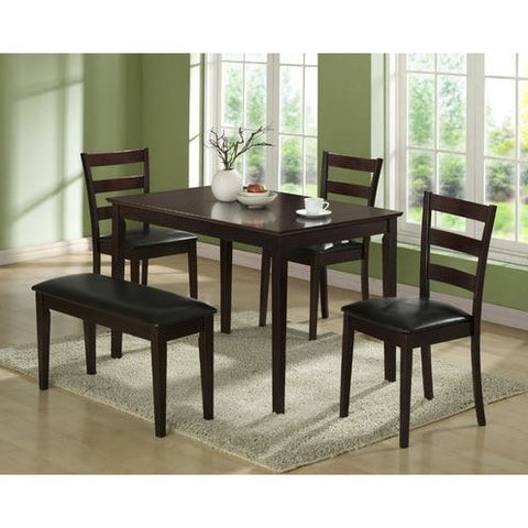 5-Piece Dining Set in Cappuccino Finish-Dining > Dinette Sets-Loluxe