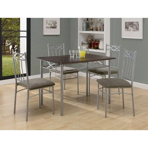 5-Piece Dining Set in Silver Metal with Cappucinno Table Top-Dining > Dinette Sets-Loluxe