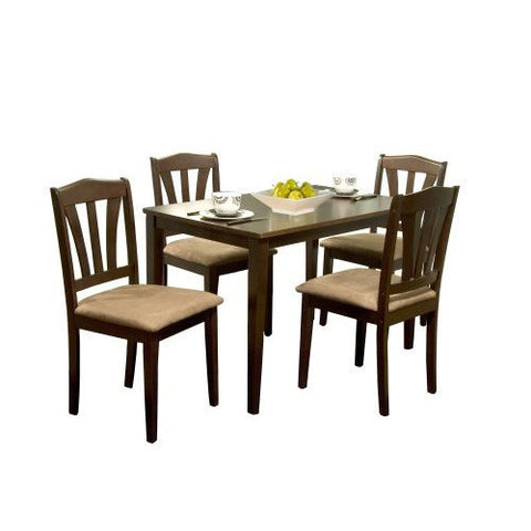 5-Piece Espresso Wood Dining Set-Dining > Dining Sets-Loluxe