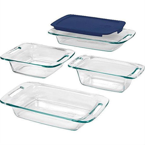 5-Piece Glass Bakeware Cookware Food Storage Set with Blue Plastic Lids-Kitchen > Cookware Sets-Loluxe